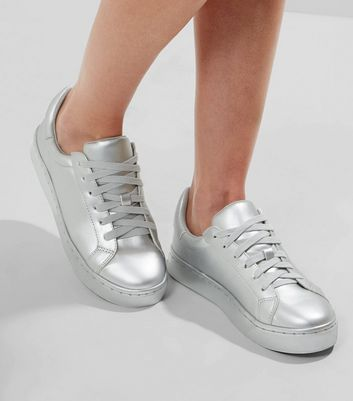 New Look Silver Metallic Lace Up Trainers