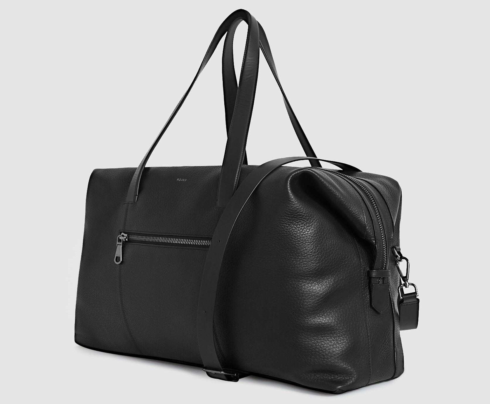 Reiss Owen leather weekend holdall