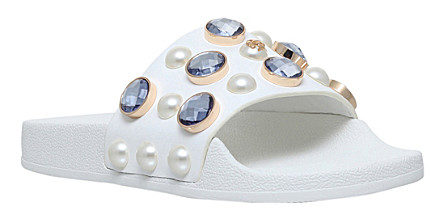 TORY BURCH Vali embellished leather pool slides