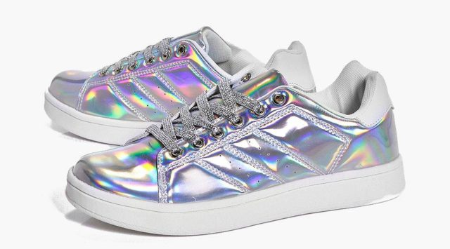 boohoo Robyn Glitter Lace Up Trainer