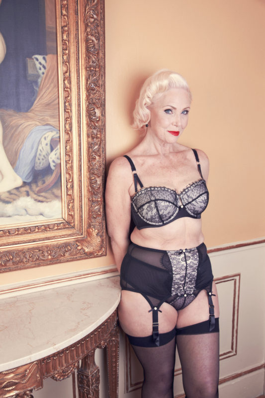 68 year old model Lina wearing the Bettie Page Lace Set - playful promises ageless fashion campaign