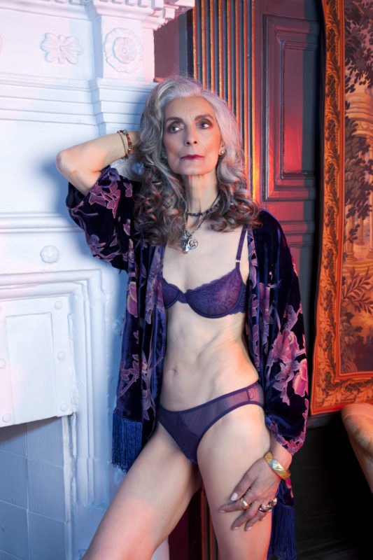 b288e1b48690f 66 year old model Pam Lucas wearing the Sadie and Francois collection - playful  promises ageless