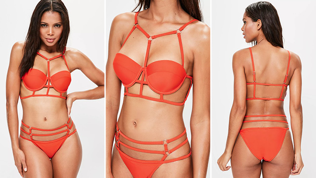 red caging underwire bikini set