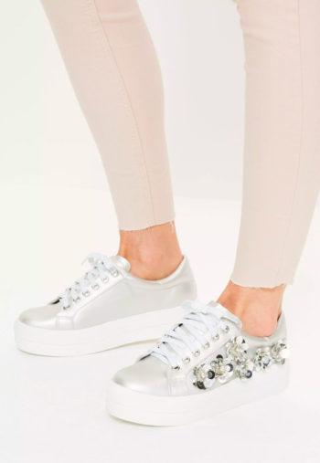 silver embellished flatform trainers