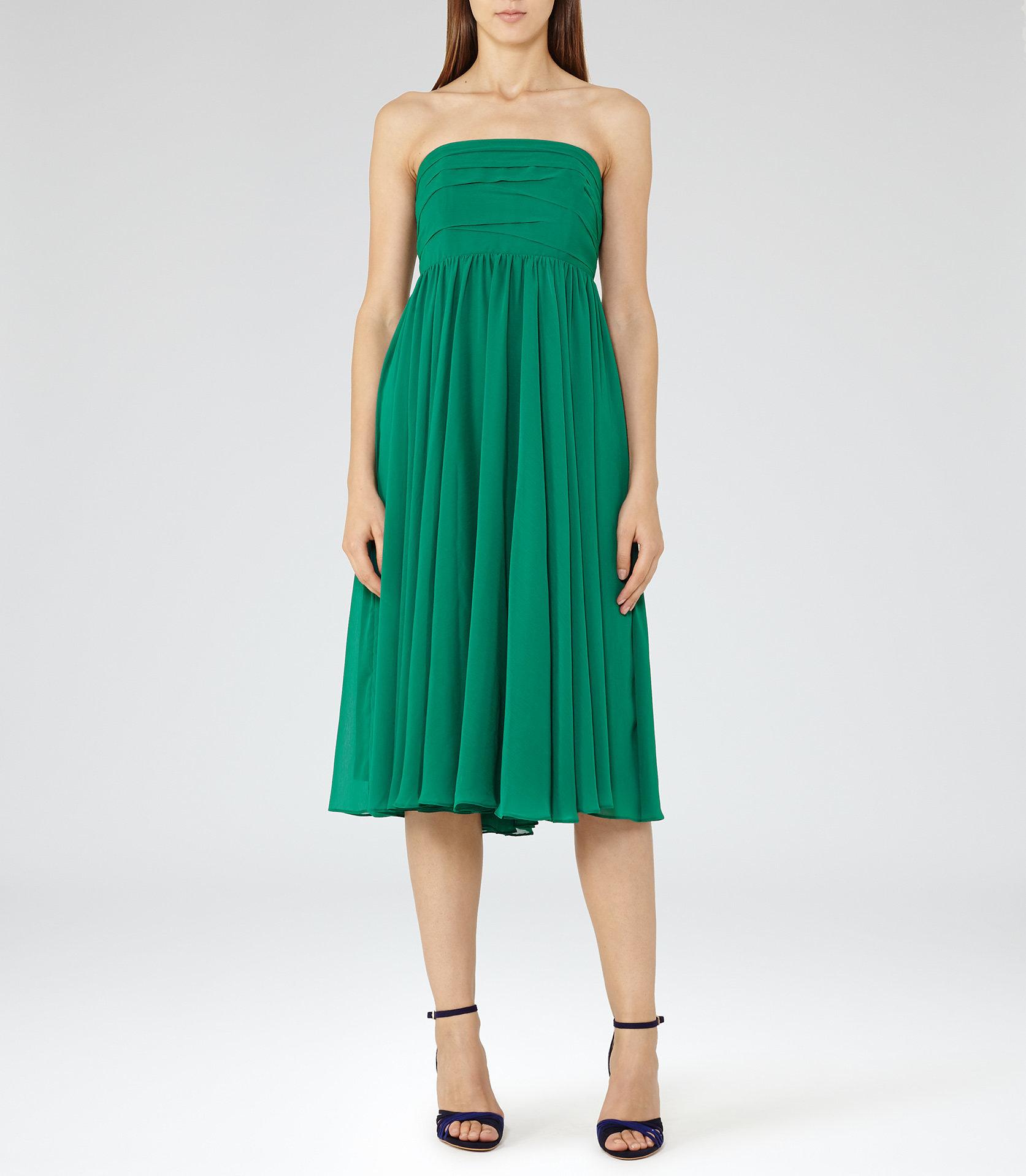 ATHENA STRAPLESS LAYERED DRESS EMERALD GREEN