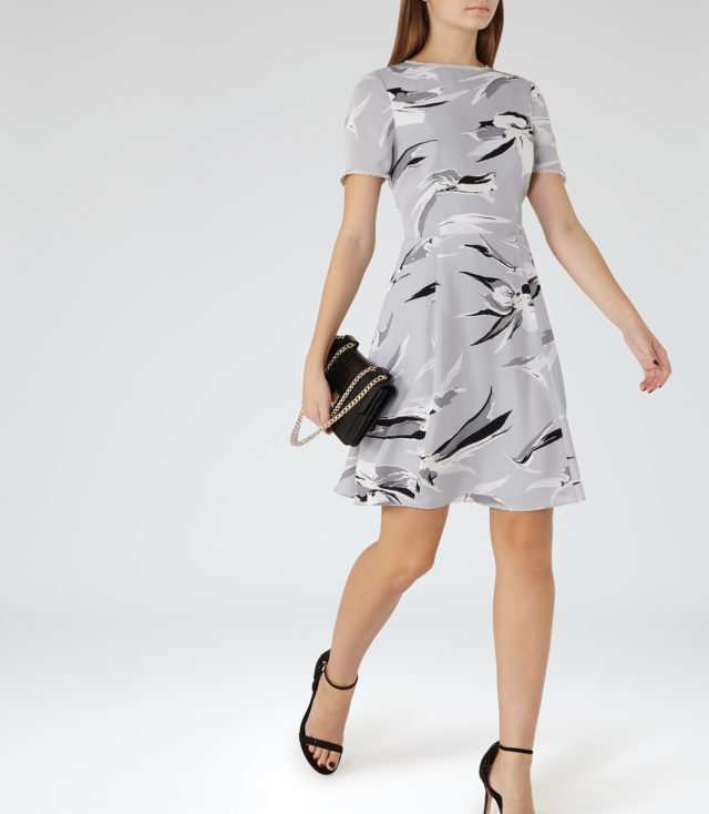 BRONTE PRINTED DRESS GREY-BLACK