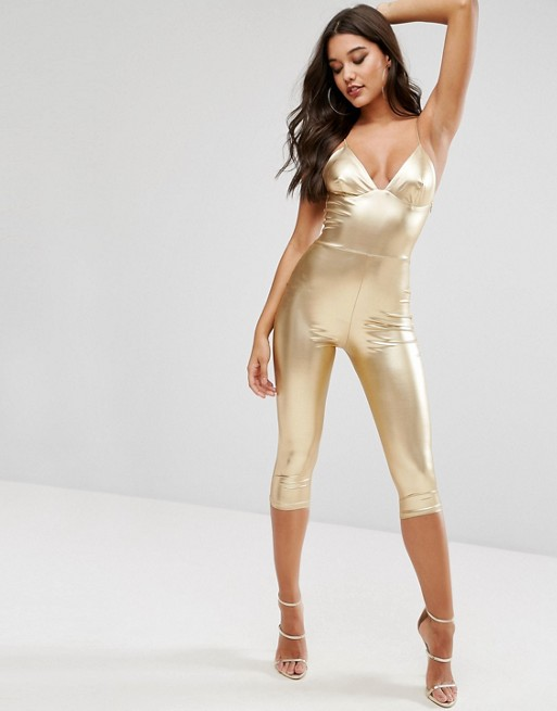 Club L Metallic Catsuit with Cropped Leg