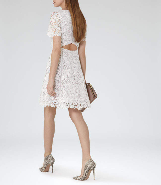 ELEANIA LACE FIT AND FLARE DRESS OFF WHITE-ASH