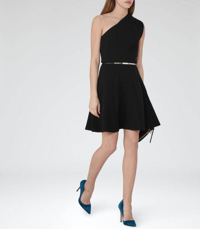 Reiss UK Sale - KERIA ONE-SHOULDER DRESS BLACK