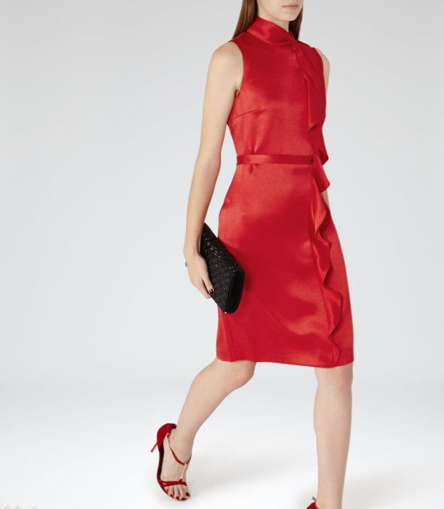 LOLA RUFFLE-FRONT DRESS CHINA RED