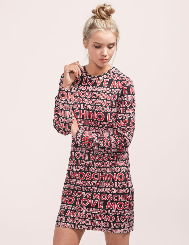 LOVE MOSCHINO LOGO SWEATER DRESS
