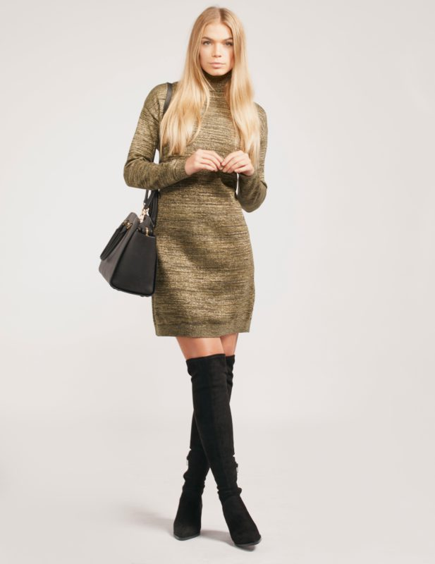 MAISON SCOTCH LUREX TURTLE NECK DRESS