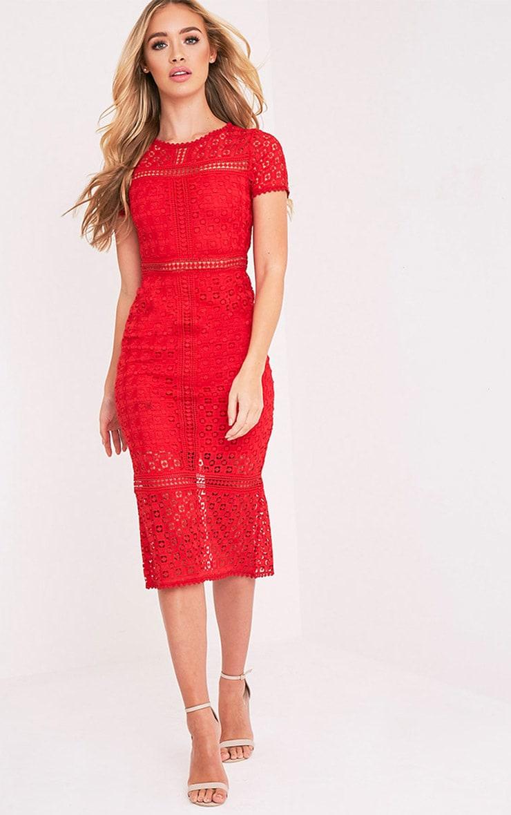 Midira Red Crochet Lace Midi Dress