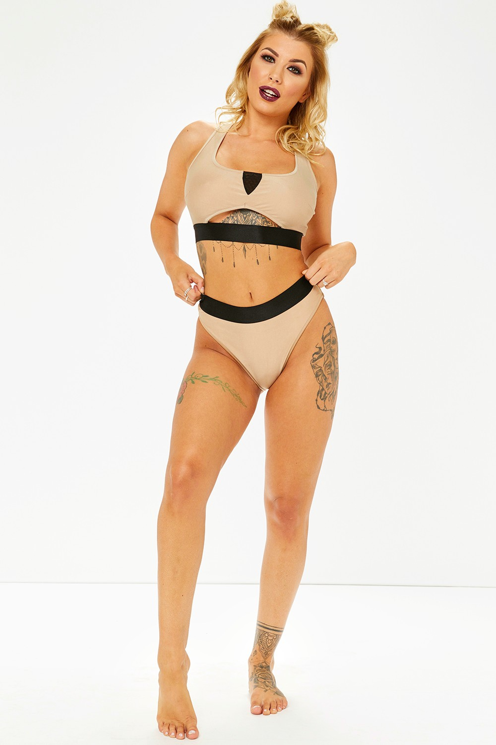Olivia Buckland Mocha Cross Back Bikini Set
