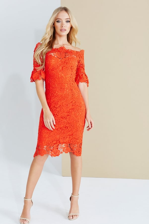 Paper Dolls Red Crochet Lace Bardot Dress
