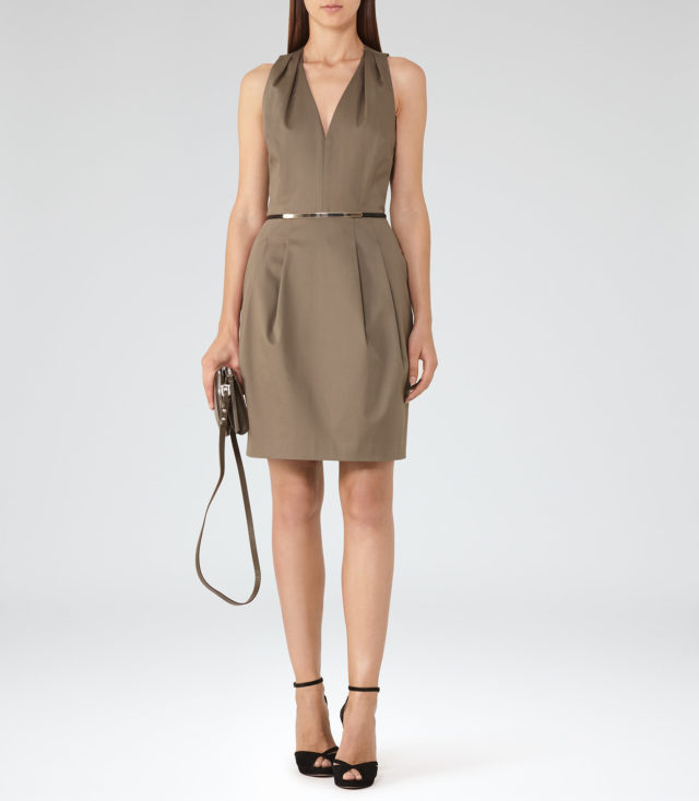 reiss dresses RAKELE V-NECK FIT AND FLARE DRESS KHAKI