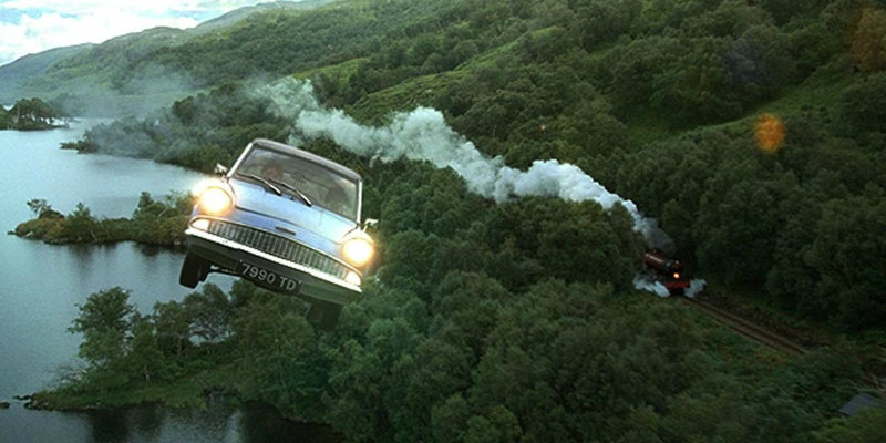 The Ford Anglia in Harry Potter and the Chamber of Secrets
