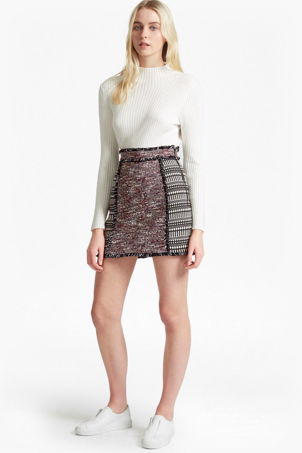 pixel mix cotton mini skirt