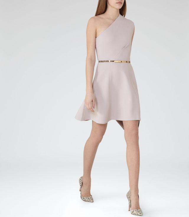 KERIA  ONE-SHOULDER DRESS WARM GREY