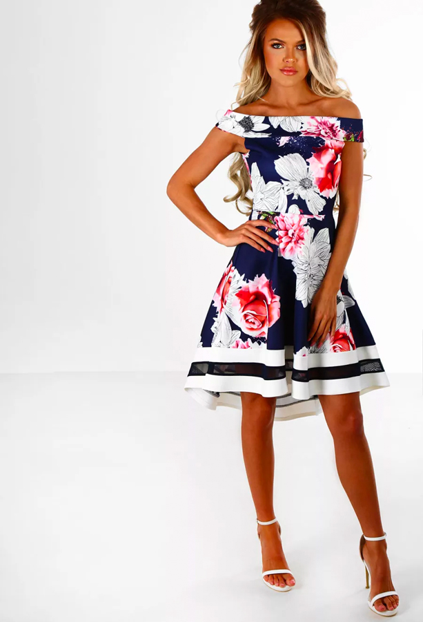 Ladies Who Lunch Navy Multi Floral Bardot Skater Dress