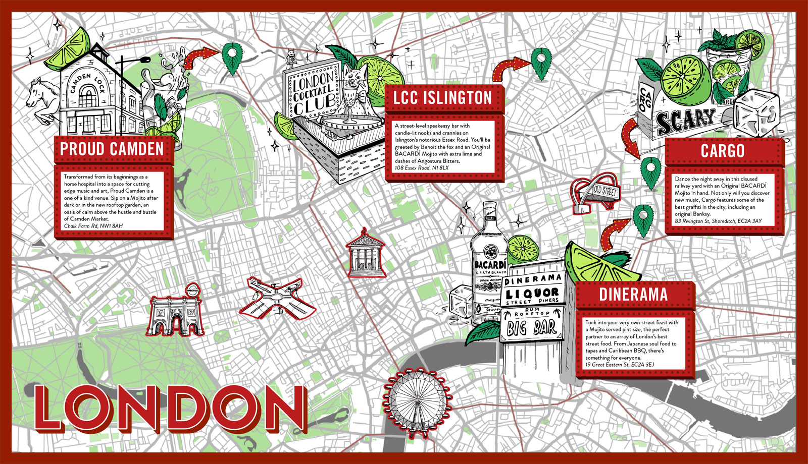 London Bacardi Map for best mojito's