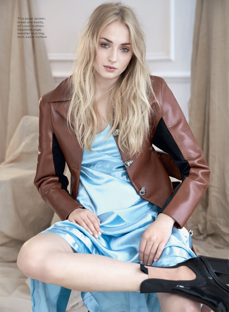 Modelling Louis Vuitton jacket, dress and boots