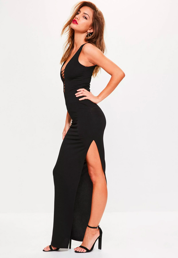 black sleeveless plunge strap bar detail maxi dress