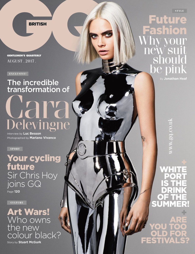 Cara Delevingne does nude cyber glam
