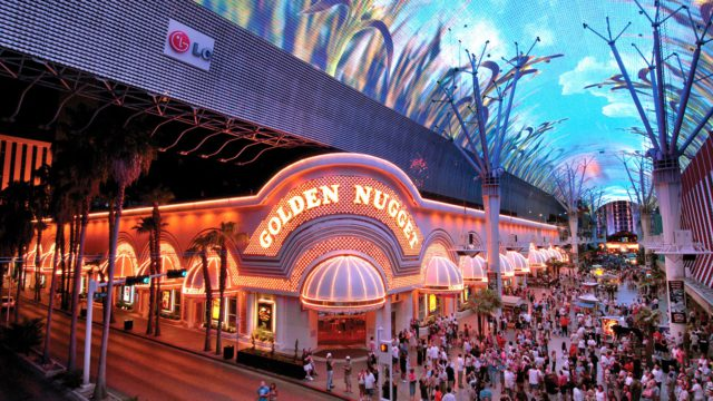Fremont Street Experience and the Golden Nugget Hotel