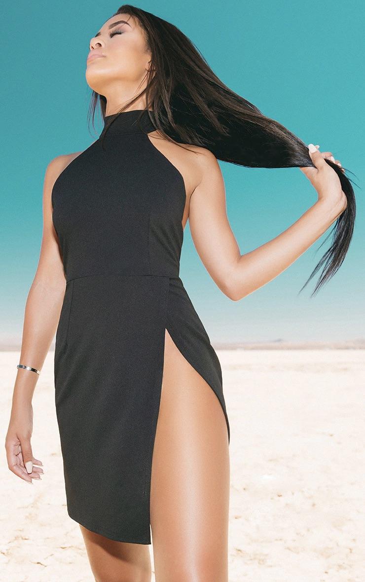 Black High Neck Extreme Split Bodycon Dress