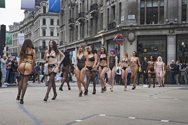Bluebella's Dare To Bare models parade across Oxford Circus
