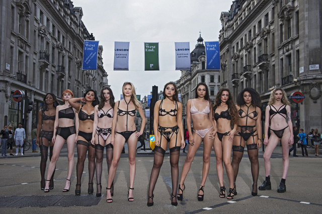 Bluebella's Dare To Bare 'models' with student Samantha Higgins at front