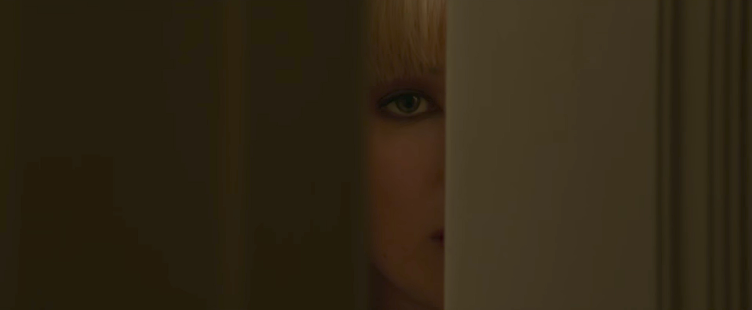 Jennifer Lawrence RED SPARROW peeping through the door