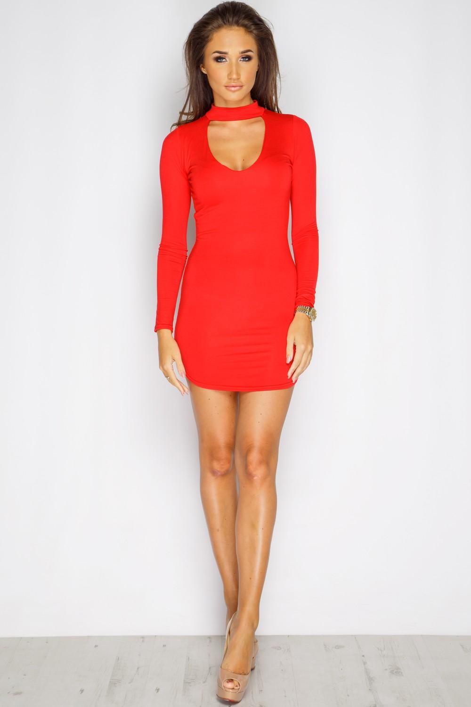 Megan McKenna Red Choker Neck Dress