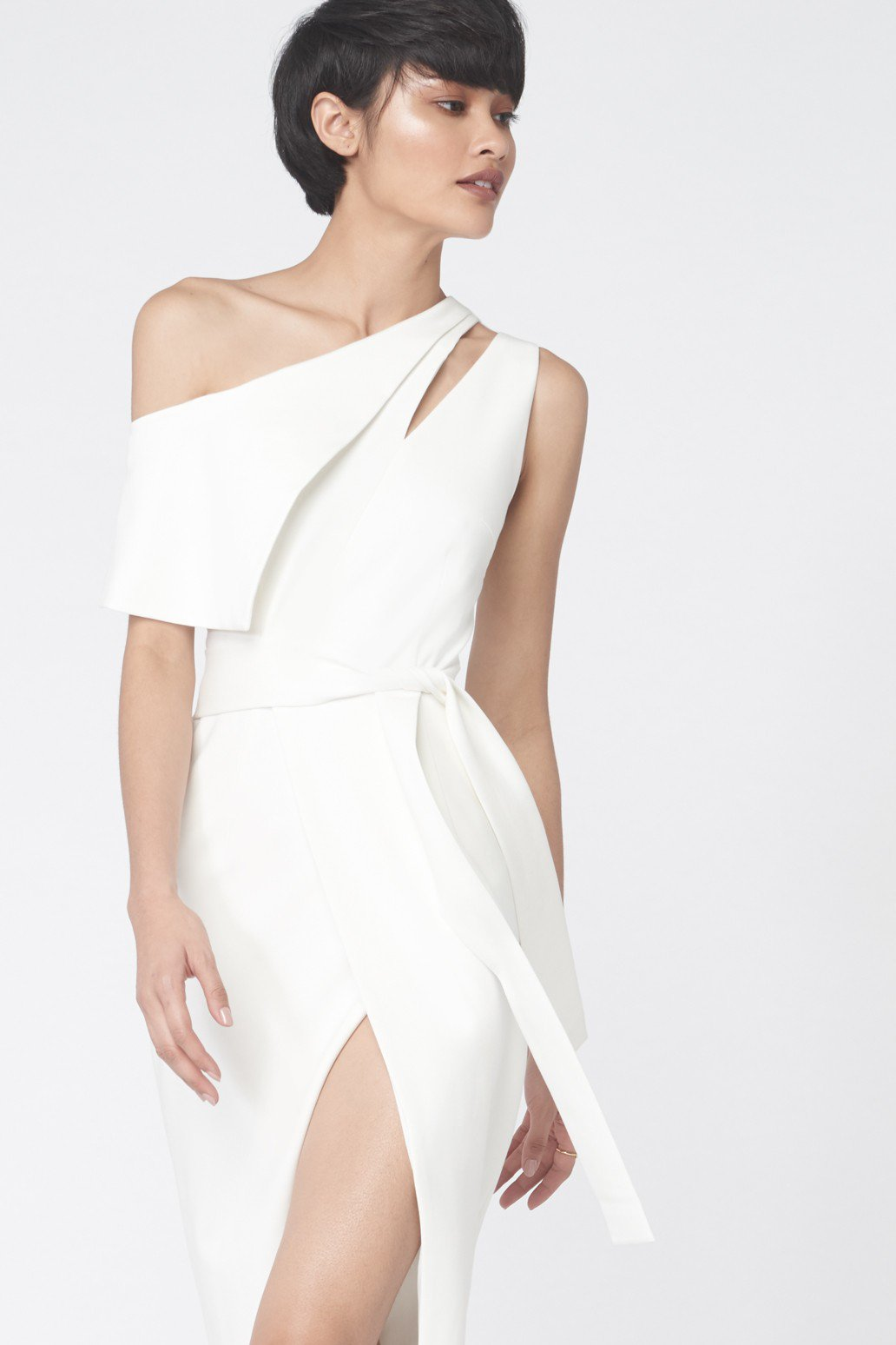 One Shoulder Tie Front Dress in Off White
