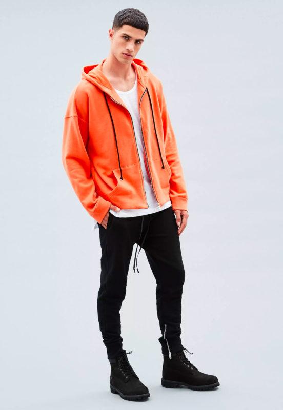 Orange Zip-Through Hoodie