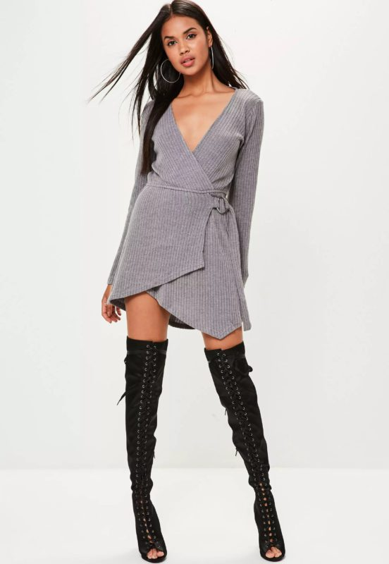 Popular dress websites Uk - Missguided grey knitted ribbed skater dress