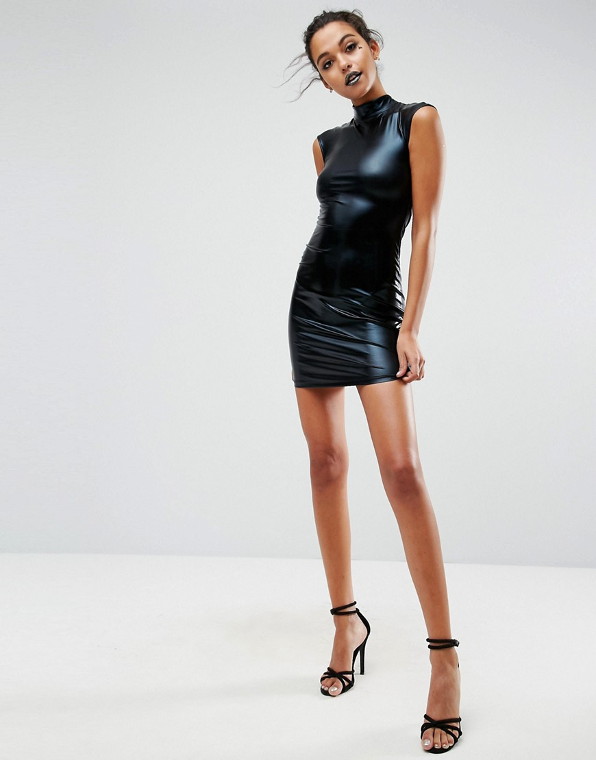 ASOS HALLOWEEN PU High Neck Mini Dress With Open Back