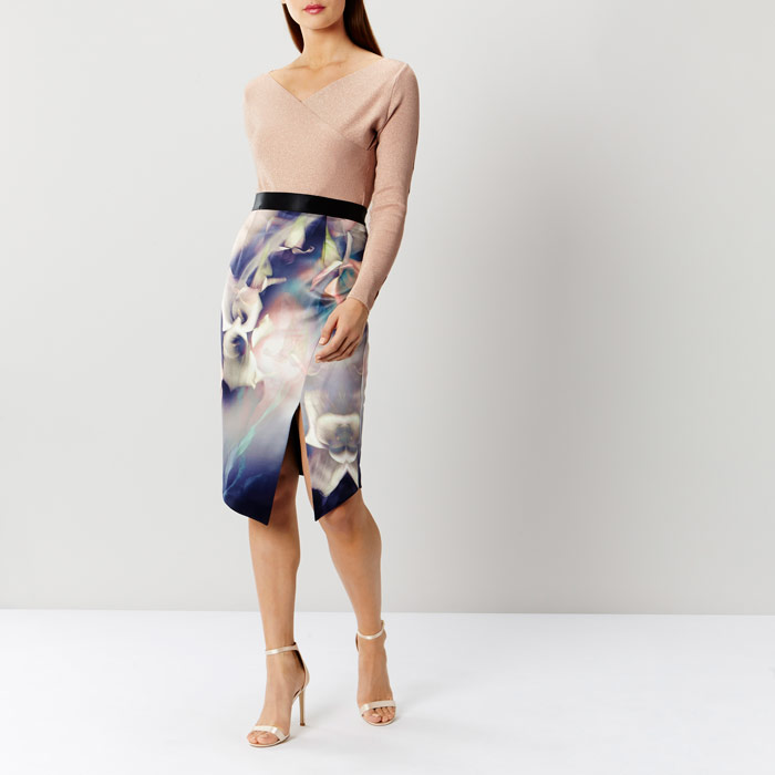 Selenis Printed Pencil Skirt