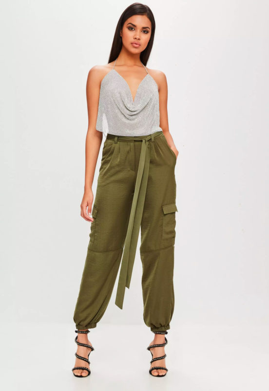 carli bybel x missguided khaki satin cargo pants