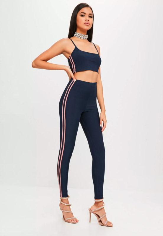 carli bybel x missguided navy stripe slinky legging