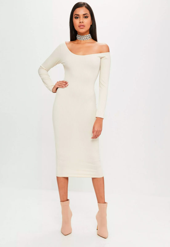 carli bybel x missguided nude long sleeve ribbed dress