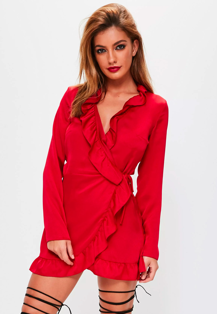 red satin frill wrap tea dress