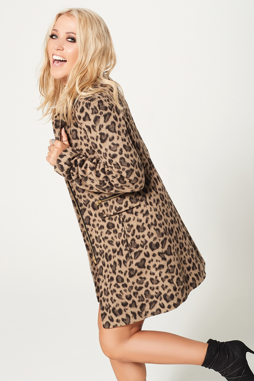Amelia Lily Leopard Print Funnel Neck Coat
