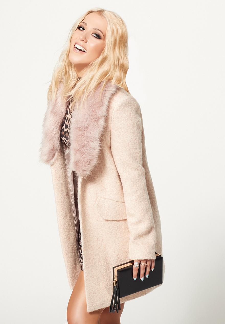 Amelia Lily Pale Pink Faux Fur Coat