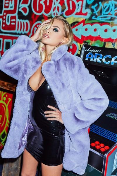 Ariana Lilac Premium Faux Fur Coat