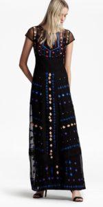 Coachella Embroidered Maxi Dress - black multi