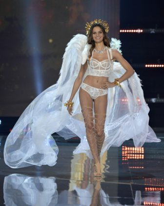 Model Barbara Fialho walks the 2017 Victoria's Secret Fashion Show