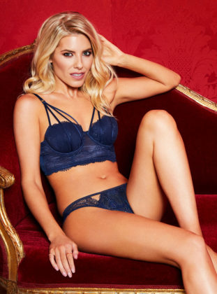 Mollie King strips for Boux Avenue