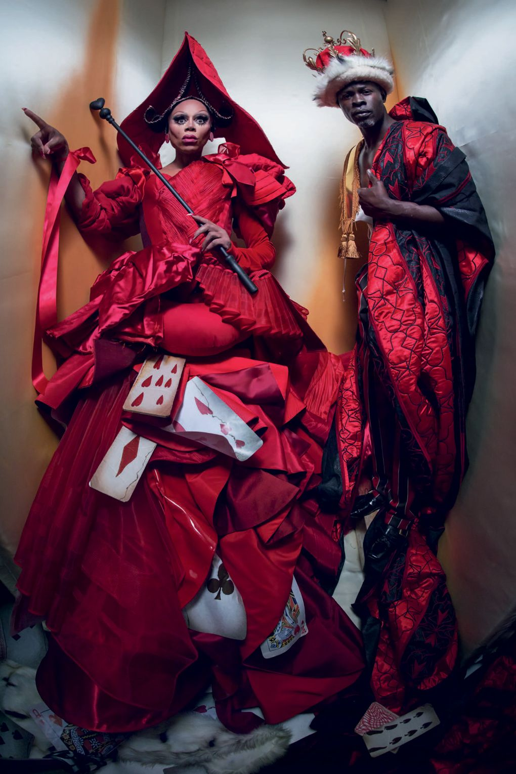 RuPaul and Djimon Hounsou as The Queen and King of Hearts